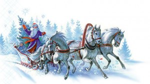 Grandpa Frost and Snowgril are bringing the gifts of winter. They need only the troyka, the sleigh, and the snow.